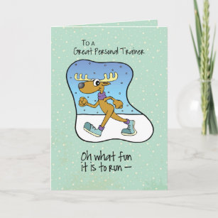 To Personal Trainer Running Exercise Reindeer Chri Holiday Card