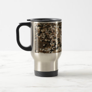 to pick up shells on the beach travel mug
