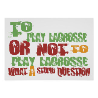 To Play Lacrosse Poster