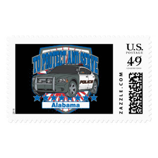 To Protect and Serve Alabama Police Car Stamp