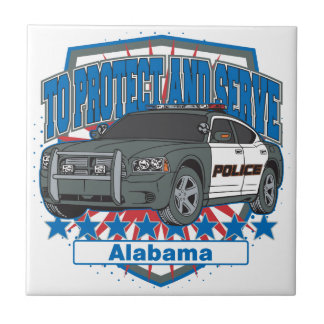 To Protect and Serve Alabama Police Car Tile