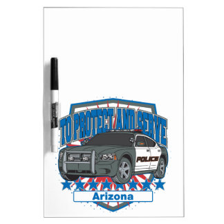 To Protect and Serve Arizona Police Car Dry Erase Whiteboard