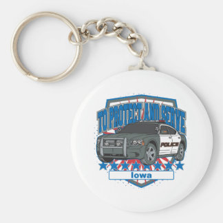 To Protect and Serve Police Car Iowa Key Chains