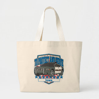 To Protect and Serve Police Car Iowa Large Tote Bag