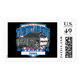 To Protect and Serve Police Car Iowa Stamps