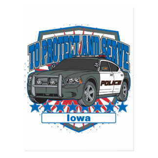 To Protect and Serve Police Car Iowa Postcard