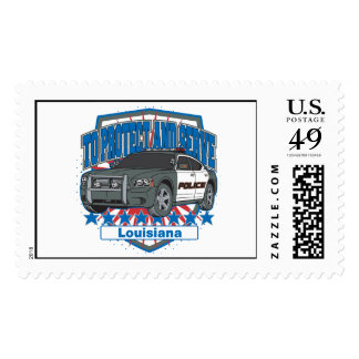 To Protect and Serve Police Car State of Louisiana Postage Stamp