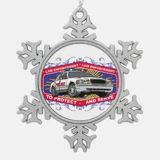 To Protect and Serve Snowflake Pewter Christmas Ornament