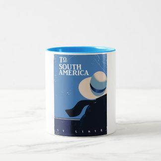 To South America vintage travel poster Two-Tone Coffee Mug