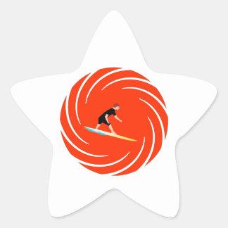 To surf - Surfer (03) Star Sticker