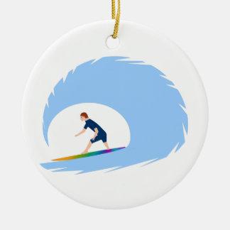 To surf - Surfer (04) Ceramic Ornament