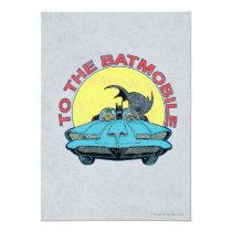 invitations, to the batmobile, distressed batmobile icon, batman, bat man, 1966 batman, 60's batman, batman action callout, action words, fighting sound effect words, punching sounds, adam west, burt ward, batman tv show, batman cartoon graphics, super hero, classic tv show, Convite com design gráfico personalizado
