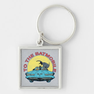 To The Batmobile - Distressed Icon Silver-Colored Square Keychain
