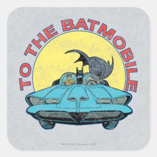 To The Batmobile - Distressed Icon Square Sticker