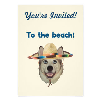 To The Beach Dog 5x7 Paper Invitation Card