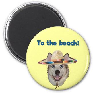 To The Beach Dog Fridge Magnet