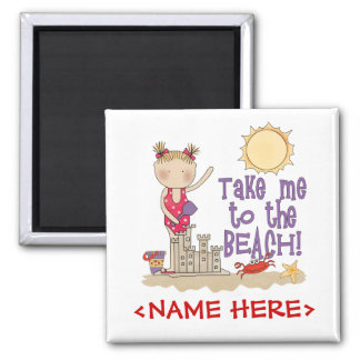 To the Beach (Girl) 2 Inch Square Magnet
