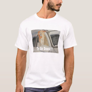 """To the Beach"" Golden Lab Retriever in SUV T-Shirt"