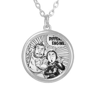 To The Difference Engine Panel Round Pendant Necklace