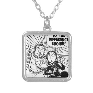 To The Difference Engine Panel Square Pendant Necklace