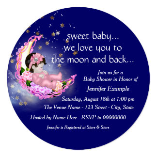 To The Moon and Back Baby Shower Custom Announcement