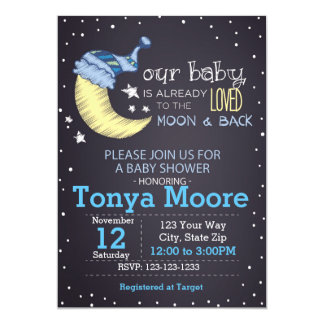 To the Moon and Back Baby Shower Invitation (boy)