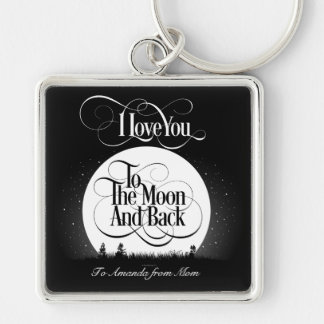 To The Moon And Back (personalized) Silver-Colored Square Keychain