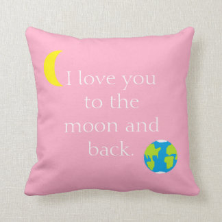 To the Moon and Back Pink Throw Pillow