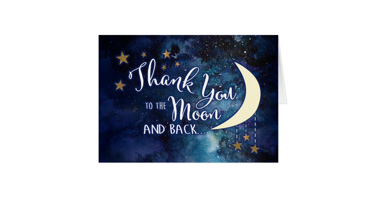 to the moon and back thank you cards zazzle
