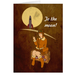 To the moon greeting cards