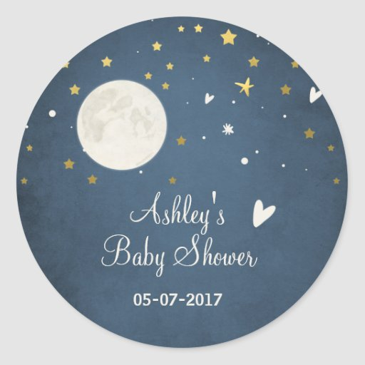 To the moon Envelope seal sticker Baby shower