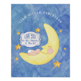 To the Moon n Back Star Baby Boy Name Watercolor Poster