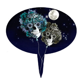 To the moon, night sky skull balloons cake topper