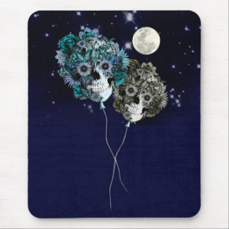 To the moon, night sky skull balloons mouse pad