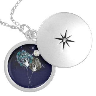 To the moon, night sky skull balloons pendant