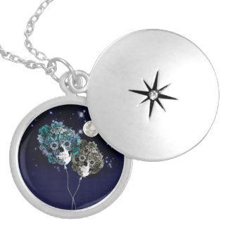 To the moon, night sky skull balloons necklaces