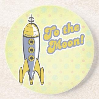 to the moon retro space rocket sandstone coaster