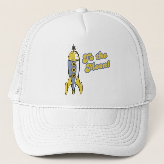 to the moon retro space rocket trucker hat