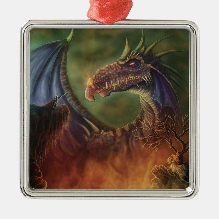 to the rescue! fantasy dragon metal ornament