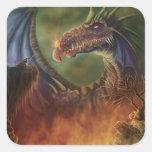 to the rescue! fantasy dragon square stickers