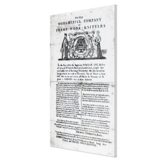 To the Worshipful Company of Frame-Work-Knitters Canvas Print