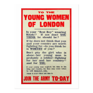 To the Young Women of London, recruitment poster, Postcard