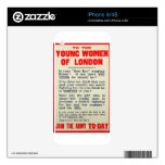 To the Young Women of London, recruitment poster, Skin For The iPhone 4