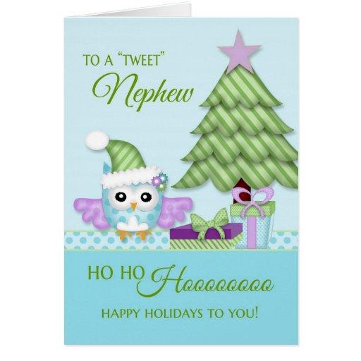 To 'Tweet Nephew Happy Holiday Owl w/tree & gifts Greeting Card