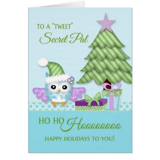 To 'Tweet Secret Pal Happy Holiday Owl w/tree Card