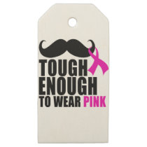 To wear Pink for cancer awareness Wooden Gift Tags