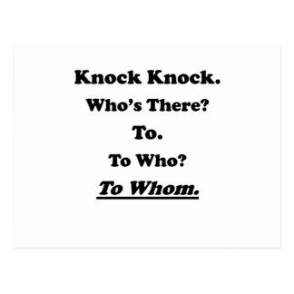 To Whom Knock Knock Joke Postcard