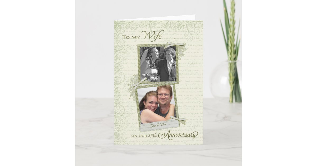 To Wife On Th Anniversary Custom Then Now Card Zazzlecom