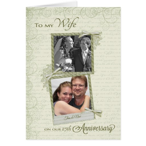 To Wife on __th Anniversary - Custom Then & Now Greeting Cards