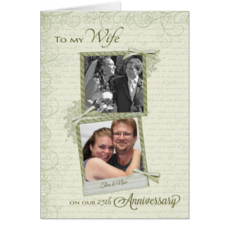 To Wife on __th Anniversary - Custom Then & Now Greeting Card